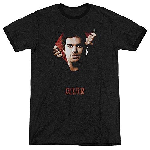 Dexter Body Bad Mens Adult Heather Ringer Shirt Black (Dexter Ringer)