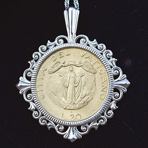 (1987 Vatican 20 Lire Coin Assumption of Mother Mary Into Heaven Solid 925 Sterling Silver Necklace NEW )