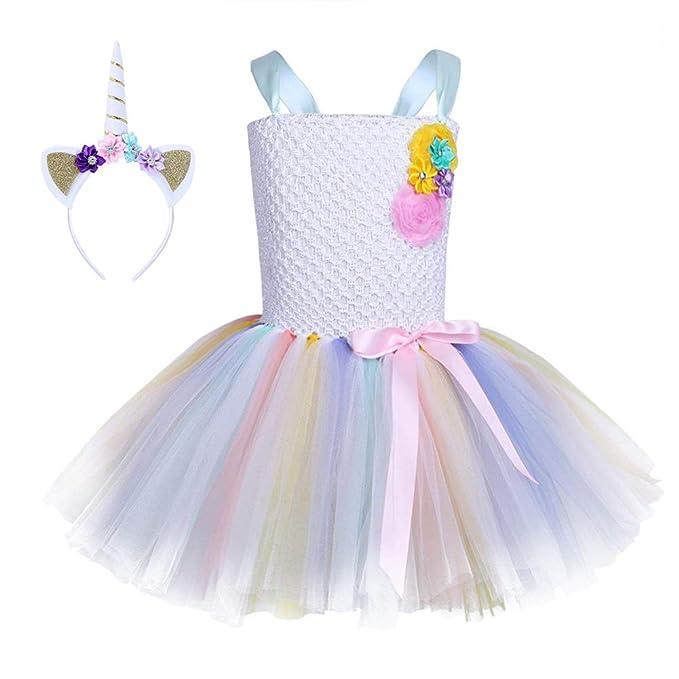 FONLAM Vestido de Princesa Fiesta Niña Disfraz de Unicornio Cumpleaños Tutú Vestido Infantil Flores Carnaval Niña