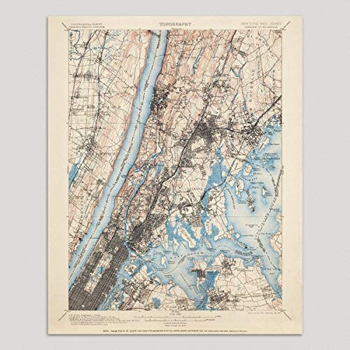 Old New York City Map Art Print, 1900, Vintage USGS Topographic Map, Archival Reproduction, Unframed -