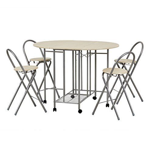 Homycasa Folding Set of 4 Dining Table and Chairs with Wheels (BEECH)