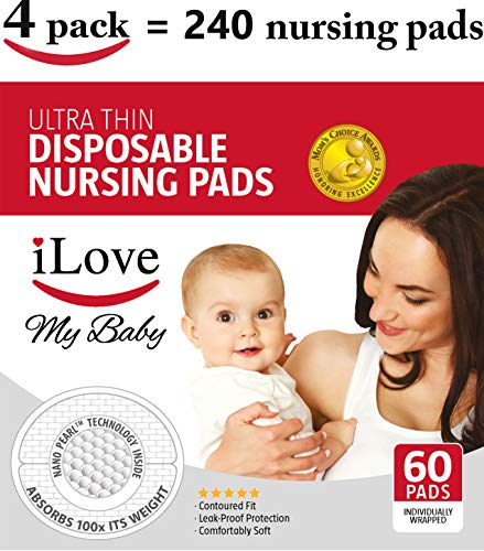 iLove Nursing Pads | 4 Packs of 60 (240 Count) | Ultra Thin Disposable Breast Pads for Breastfeeding Mothers - Mother Nursing Pads