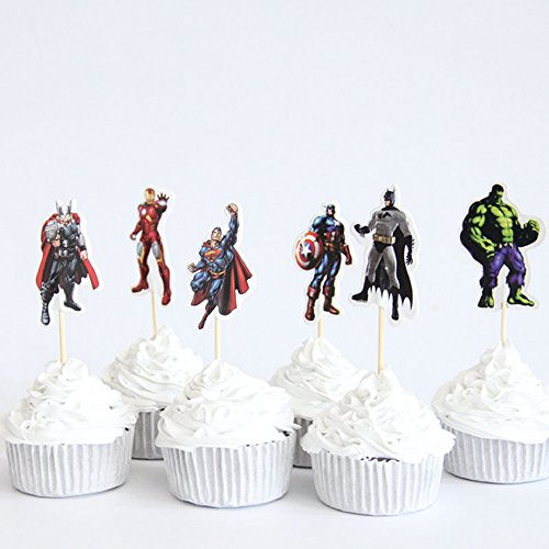SXK Co. The Avengers Captain America Super Hero Cupcake Toppers 2 Dozen (24 -
