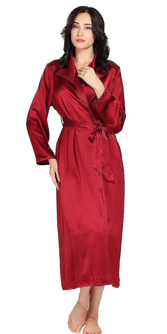 Claret LilySilk Luxury Silk Robe for Women 100% Pure Silk 22 Momme