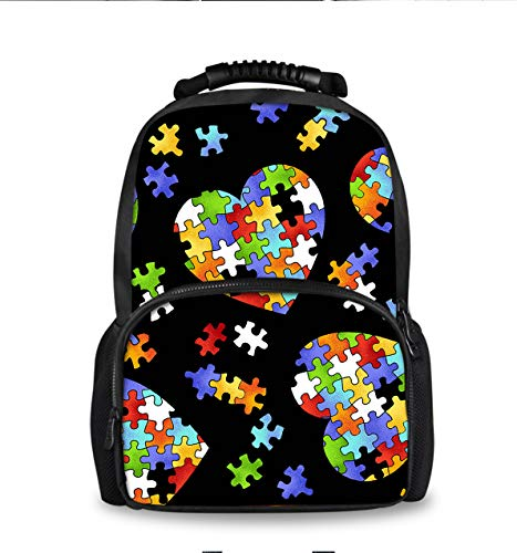 Women Men Lightweight Durable Travel & Hiking Backpack College Student Rucksack Colorful Autism Awareness Puzzle Pieces Heart Daypack Bag Laptop Notebook Backpack
