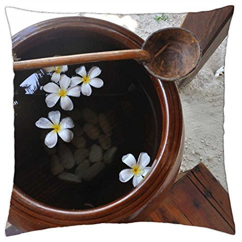 Caiemreo Beach Wash Bowl with Plumeria Flowers - Throw Pillow Cover Case