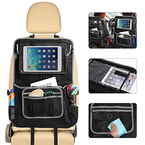GEMITTO Car Back Seat Protector, Waterproof Multiple Pockets Backseat Organizer with ipad and Tablet Holder, Adjustable Straps for Universal Fit, Premium Kick Mat for Kids toddles Journey