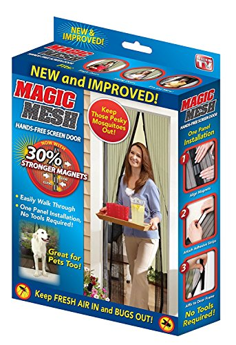 Magic Mesh Magnetic Screen Door with Velcro Easy to Install 35''x82'' Keep Bugs Out As Seen On TV