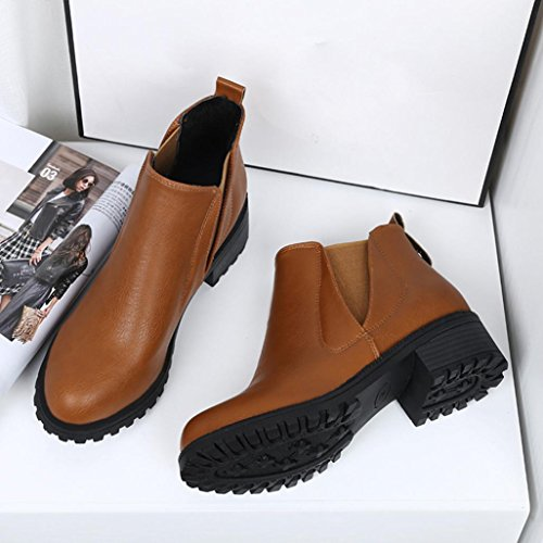 Boots Ankle Womens Brown Low Heels Fashion Block Autumn Boot Winter Snow Boots Leather Women Shoes Warm Clode 46r6qI