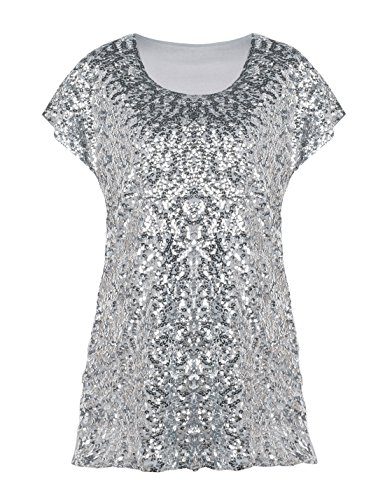 PrettyGuide Women's Sparkly Shirt Glitter Sequined Dolman Loose Tunic Blouse Top Silver L/US14-16