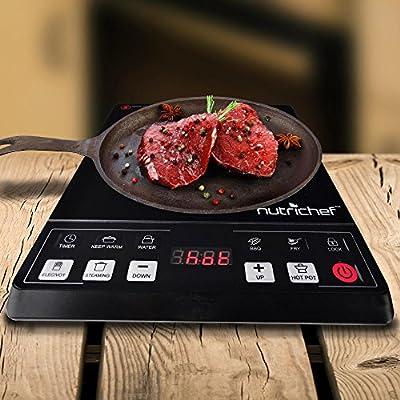 NutriChef PKST14 Induction Cooktop Electric Countertop Glass Burner Cooker, Black