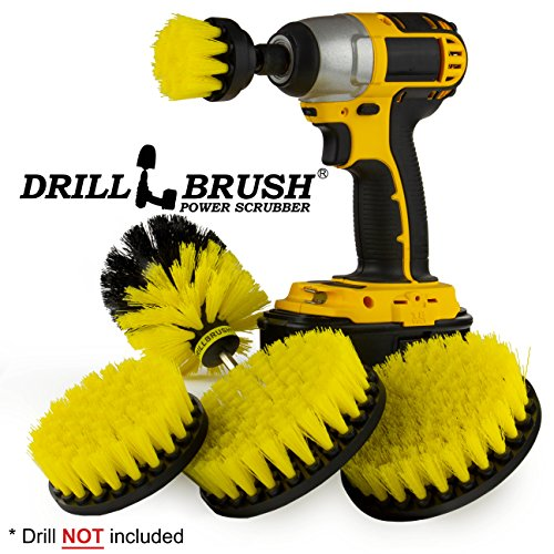 Drillbrush Power Scrubber Attachment Set/Grout Cleaner Scrub Brush/Shower Cleaner / 5 piece Spin Brush Kit for Bathroom Tile, Tub, Sink, and Flooring/Kitchen Cleaning Supplies Stove, Countertops