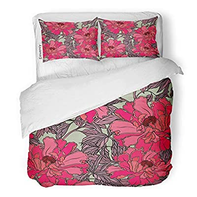Emvency 3 Piece Duvet Cover Set Brushed Microfiber Fabric Breathable Bedding Set with 2 Pillow Covers Twin Size