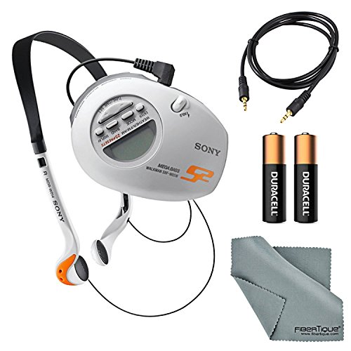 Sony SRF-M85W S2 Sports Walkman Armband Radio Bundle with 2 AAA Batteries, Aux Cable, and Fibertique Cleaning Cloth