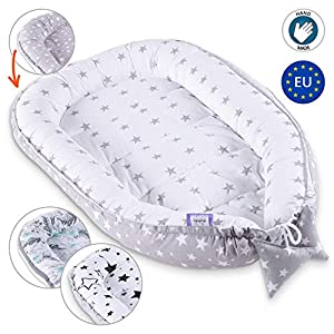 Baby nest Sleep pod – Portable Bed for Baby Newborn (White – Grey with Stars, 90 x 50 cm)