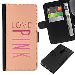 Planetar® Modelo colorido cuero carpeta tirón caso cubierta piel Holster Funda protección LG G2 D800 ( Pink Love Peach Music Text Valentines )