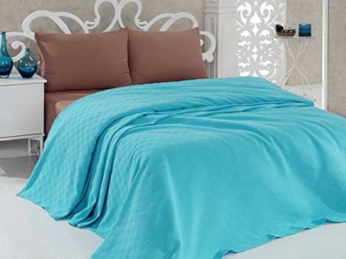 "LaModaHome Colors Coverlet, 100% Cotton - Light Blue, One Colored, Plain - Size (78.7"" x 94.5"") Use in The Summer, Thin Coverlet (Pique) for Full and Double Bed"