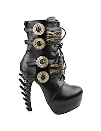 Show Story Punk Black Buckle Zip Lace Up Bone Heels Platform Ankle Boots,LF80651