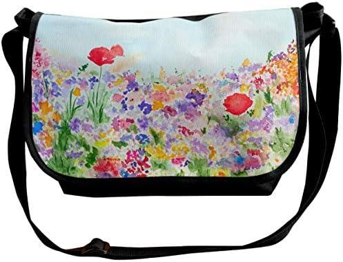 メッセンジャーバッグ ショルダーバッグ 草と花が咲く庭 斜めがけ ワンショルダー バック カバン キャンバス 大容量 超軽量 学校 旅行 メンズ レディース 正規品