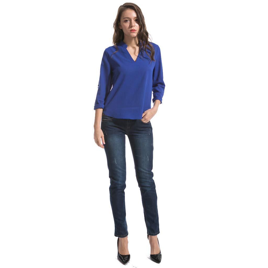Keliay Cute Womens Tops Summer,Women Fashion S-6XL Long Sleeve Chiffon Shirt Tops V-Neck Casual Blouse Blue by Keliay (Image #6)