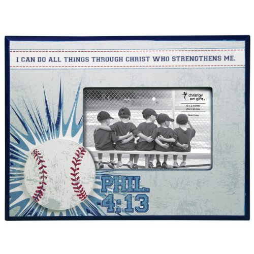 Christian Art Gifts Baseball 4 x 6 Wooden Photo Frame - Philippians 4:13 ()