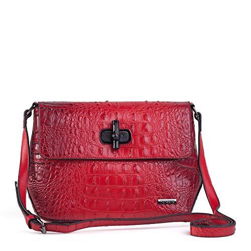 Bolsa Pequena Tiracolo Vermelha Textura Croco
