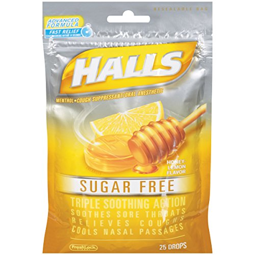 Halls Mentho-Lyptus Sugar Free Drops, Honey-Lemon, 25 ct