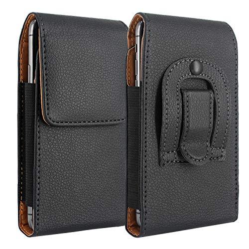 Lacass PU Leather Magnetic Flap Holster Pouch Case with Belt Clip, Leather Case Compatible with Sonim XP5 XP6 XP7 XP1520 / Plum RAM 6/7 /CAT B25 B35 B30 / Kyocera DuraForce E6560 (Black)