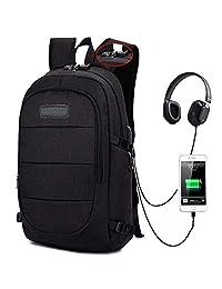 Sonolife - Mochila Antirrobo Minimalista con Conector USB y de Audífonos Externo (Negro)