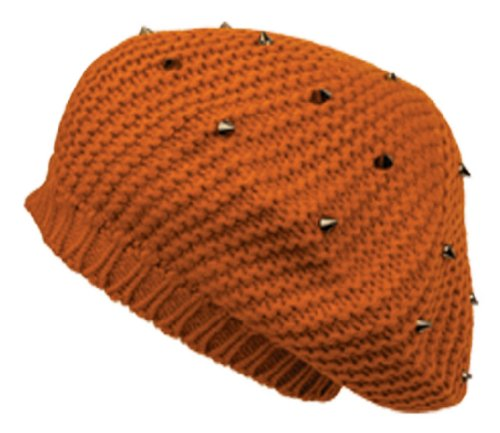 Sakkas 29071RB Spike Studded Knit Slouch Fashion Beret - Orange - One Size