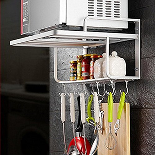 MiniInTheBox 2 Layers Space Aluminum Microwave Oven Wall Mount Shelf Pan Cover Combination Multi - function Shelves, The Removable Hooks is Not Included