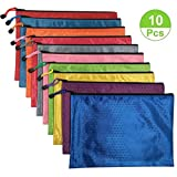10Pcs Waterproof Zipper File Bags,office filing documents Storage Bags( A4 Size, Random Color )