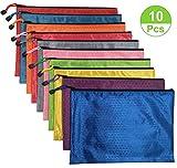 10Pcs Waterproof Zipper File Bags,office filing documents Storage Bags( A4 Size, Random Color )