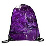Japanese Garden Drawstring Backpack Portable Pocket Travel Sport Gym Bag Yoga Runner Daypack