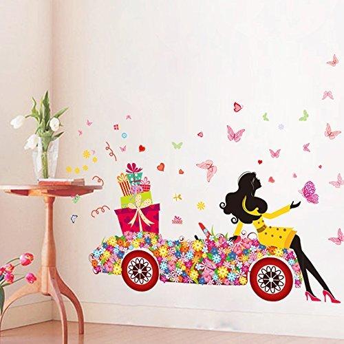 Sitio de la decoración auto adhesivo creativo del mural del arte de la etiqueta dormitorio flor de mariposa eDealMax coche Regalo de la muchacha DIY ...