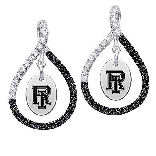 Rhode Island Rams Sterling Silver Black Sapphire and White CZ Figure 8 Style Earrings by College Jewelry