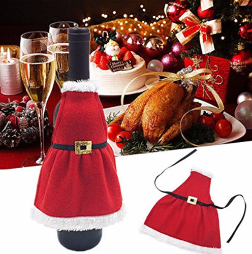 Christmas Santa Wine Bottle Apron Cover Wrap Xmas Dinner Party Table Decorationby Superjune ()