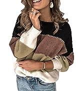 Asvivid Womens Fashion Color Block Sweater Long Sleeve Crewneck Pullover Casual Loose Fall Knit J...