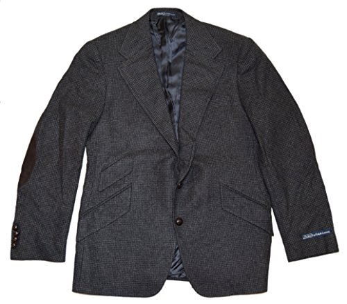 (Ralph Lauren Polo Mens Hacking Wool Blazer Sport Coat Jacket Italy Black 40S)