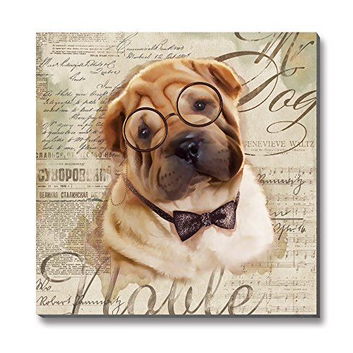 3Hdeko Animal Dogs Canvas Wall Art Puppy shar pei with Glasses Modern Printed Paintings Artwork for Children's room Decor,12x12 inch,Stretched,READY TO HANG!