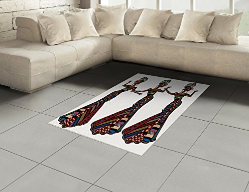 African Woman Area Rug by Ambesonne, Young Women in Stylish Native Costumes Carnival Festival Theme Dance Moves, Flat Woven Accent Rug for Living Room Bedroom Dining Room, 4 x 6 FT, Multicolor by Ambesonne (Image #1)