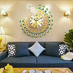 NEOTEND Decorative Silent Wall Clock Large Metal 3D Peacock Clock Diameter 23.6 Inches Gold