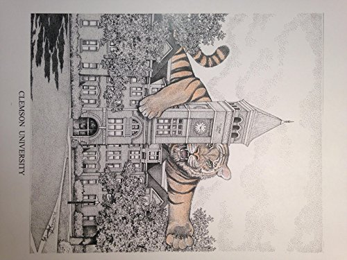 Clemson Tillman Hall pen and ink 11''x14'' print by Campus Scenes