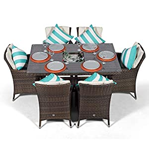 Savannah Rattan Dining Set | Rectangle 6 Seater Brown Rattan Table & Chairs Set with Ice Bucket Drinks Cooler | Outdoor…