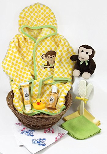 Sunshine Gift Baskets - Monkey Time - 11 Piece Baby Bath Time Robe and Slippers Gift Set (Yellow) with Burt's Bees Shampoo and Lotion