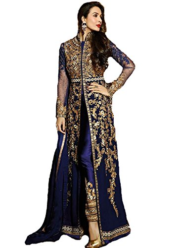 Pakistani Clothes - New Indian/Pakistani Designer Georgette Party Wear Anarkali Suit VF-3 (LARGE-42, Blue)