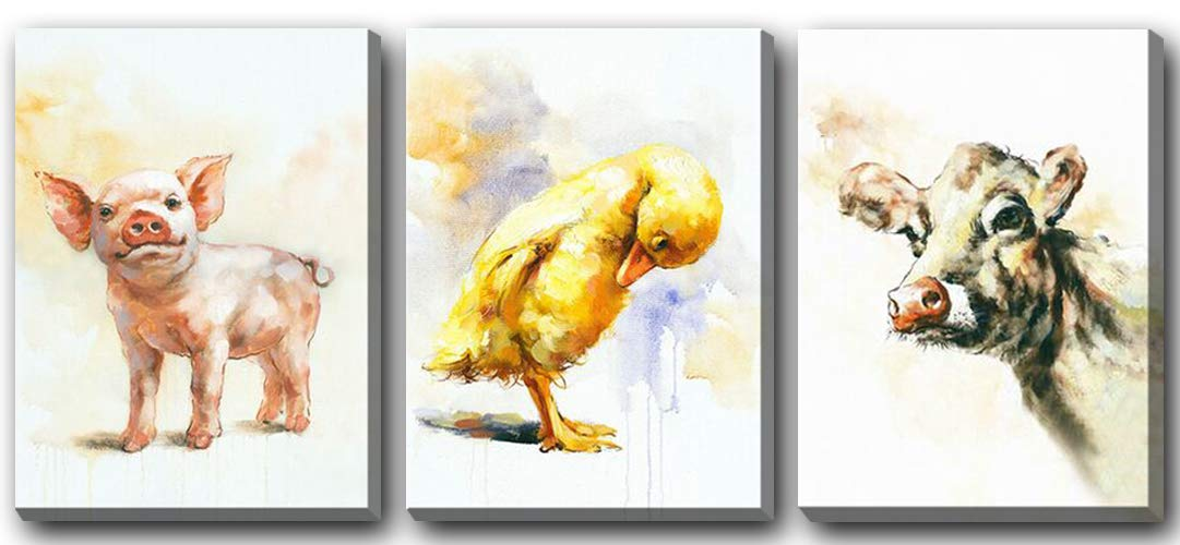 Hongwu Arts Animal Combination Oil Painting Morden Artwork Canvas Prints Wall Art Pig Cow Duck Family Pictures on Canvas Stretched and Framed Ready to Hang for Home Art Decoration 12''x16''x3panels