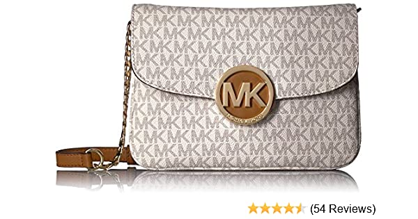 michael kors women s fulton flap gusset crossbody vanilla handbags rh amazon com
