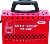 ABUS B835Red Safety Redbox Group Lockout Box with 12 padlock eyelets, Red