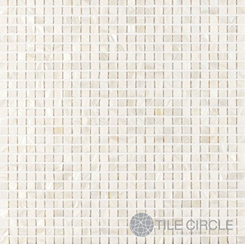 Mother of Pearl Shell Tile White 3/8'' x 3/8'' Micromosaic Squares (On a 12'' X 12'' Mesh) for Backsplash and Bathroom Walls and Floors by Tile Circle